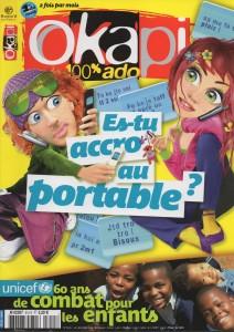 B&C dans les médias - omagazine Okapi, Bayard Presse, Paris, « les ados et leurs portables »